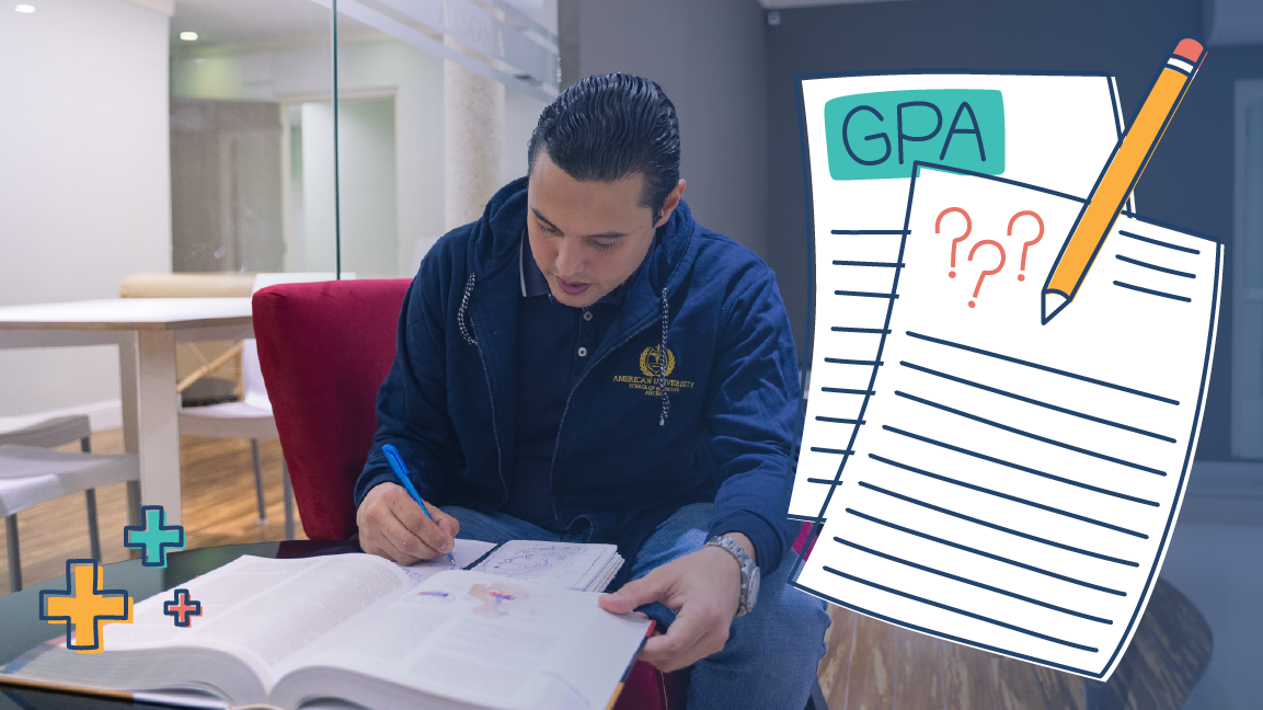man studying book to raise his GPA for medical school